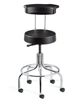 Cleanroom Stool w/ Backrest, Black, Chrome Footring & Tubular Base, Casters By Cleanroom World
