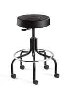 "Cleanroom Stool, ISO 4 Class 10, Seat Height: 20.5""-25.5"", Black Polyurethane Seat, Black Tubular Base, Dual-Wheel Hard Floor Casters By Cleanroom World"