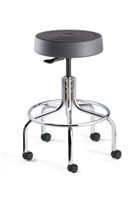 "Cleanroom Stool, ISO 4 Class 10, Seat Height: 20.5""-25.5"", Graphite Polyurethane Seat, Chrome Footring & Tubular Base, Dual-Wheel Hard Floor Casters By Cleanroom World"