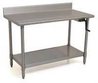 "Adjustable Height Stainless Steel Tables, 4"" Back Splash by Cleanroom World"