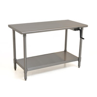 Adjustable Height Stainless Steel Tables, Right Hand Crank by Cleanroom World