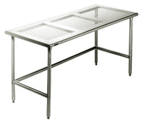Cleanroom Tables, Type 304 Stainless Steel Perforated Top, C-Frame by Cleanroom World