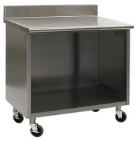 Stainless Steel Lab Cabinets, Backsplash, Wheels, Open Base, Type 304 Stainless Steel by Cleanroom World