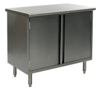 Stainless Steel Lab Cabinets, Flat Top, Hinged Doors, Type 304 Stainless Steel, Lower Storage w/Shelf By Cleanroom World
