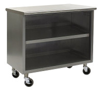 Stainless Steel Lab Cabinets, Flat Top, Wheels, Type 304 Stainless Steel, Open Base w/ Shelf By Cleanroom World