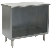 Stainless Steel Lab Cabinets, Flat Top, Type 304 Stainless Steel, Open Base Lower Storage By Cleanroom World