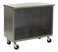 Stainless Steel Lab Cabinets, Flat Top, Wheels, Open Base Lower Storage By Cleanroom World