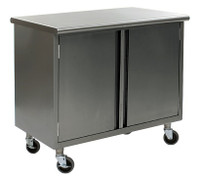 Stainless Steel Lab Tables, Flat Top, Wheels, Hinged Doors, Lower Storage By Cleanroom World
