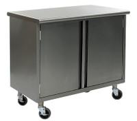 Stainless Steel Lab Tables, Flat Top, Wheels, Hinged Doors, Lower Storage By Cleanroom World
