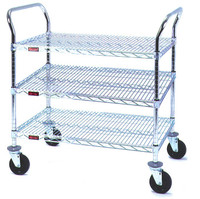 Chrome Utility Carts, Casters, 3 Wire Shelves by Cleanroom World