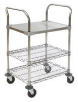 Utility Carts with 2 Chrome Wire Shelves and 1 Solid Stainless Steel by Cleanroom World