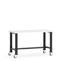 "Mobile Work Bench,  60""W x 30""W x 34 5/8""H, Plastic Laminated Top, Leg Extension/Caster Adapters, 4"" Casters, Adjustable Footrest By Cleanroom World"