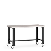 "Mobile Work Bench, 72""W x 30""D x 34 7/8"" Stainless Steel Top, Open Leg, Leg Extension/Caster Adaptors, 4"" Casters, Adjustable Footrest By Cleanroom World"