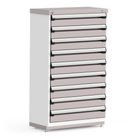 "Stationary Cabinet, 36""W x 18""D x 60""H, Stainless Steel Cover, (9) 6""H Drawers, Heavy Duty 16 Gauge Construction By Cleanroom World"