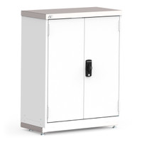 "Stationary Cabinets, 36""W x 18""D x 46""H, Stainless Steel Cover, Hinged Doors, Double Integrated Doors  (L3 lock), Heavy-Duty Gauge Construction By Cleanroom World"