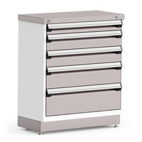 "Stationary Cabinet, 36""W x 18""D x 42""H, Stainless Steel Cover, (5) Drawers, Heavy-Duty 16 Gauge Construction By Cleanroom World"