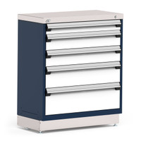 "Stationary Cabinet, 36""W x 18""D x 42""H, Stainless Steel Cover, 5 Drawers, Heavy-Duty 16 Gauge Construction, Navy By Cleanroom World"