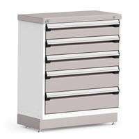 "Stationary Cabinet, 36""W x 18""D x 42""H, Stainless Steel Cover, 5 Drawers, Heavy-Duty 16 Gauge Construction By Cleanroom World"