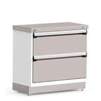 "Stationary Cabinet, 36""W x 18""D x 34""H, Stainless Steel Cover, 2 Drawers, Heavy-Duty 16 Gauge Construction By Cleanroom World"
