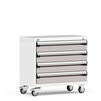 "Mobile Cabinet, 36""W x 18""D x 33 1/8""H, 4 Drawers, 4"" Casters, Heavy-Duty 16 Gauge Construction By Cleanroom World"