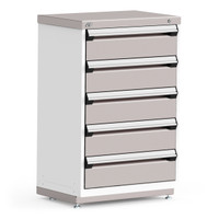 "Stationary Cabinets, 30""W x 21""D x 46""H, Stainless Steel Cover, 5 Drawers, Heavy-Duty 16 Gauge Construction By Cleanroom World"