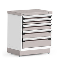 "Stationary Cabinet, 30""W x 21""D x 34""H, Stainless Steel Cover, 5 Drawers, Heavy-Duty 16 Gauge Construction By Cleanroom World"