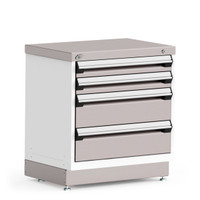 "R Stationary Cabinet with Stainless Steel Cover, 4 Drawers, (30""W x 21""D x 32""H), Central Keyed Locking For All Drawers By Cleanroom World"