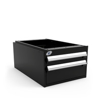"Light-Duty Drawer Unit, 18""W x 27""D x 12""H, 2 Drawer, Stainless Steel, Black By Cleanroom World"