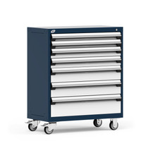 "Mobile Cabinet, 7 Drawers, 36""W x 18""D x 43 1/8""H, 4"" Swivel Casters, Navy By Cleanroom World"