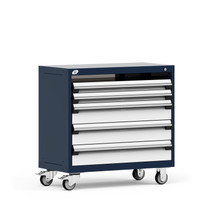 "Mobile Cabinet, 36""W x 18""D x 43 1/8""H, 4 Drawers, 4"" Casters, Navy By Cleanroom World"
