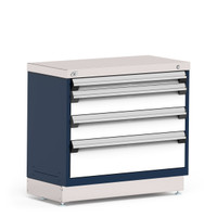 "Stationary Cabinet, 36""W x 18""D x 32""H, Stainless Steel Cover, Heavy-Duty 16 Gauge Construction, Navy By Cleanroom World"