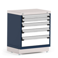 "Stationary Cabinet, 30""W x 21""D x 34""H, Stainless Steel Cover, 5 Drawers, Heavy-Duty 16 Gauge Construction, Navy By Cleanroom World"