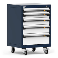 "Mobile Cabinet, 24""W x 21""D x 35 1/8"", 5 Drawers, 4"" Swivel Casters, Navy By Cleanroom World"