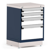 "Stationary Cabinet, 24""W x 21""D x 34""H, Stainless Steel Cover, 4 Drawers, Navy By Cleanroom World"