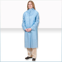 Disposable Lab Coats, SMS Material, Blue, Snap Front, 3 Pockets, M-3XL by Cleanroom World