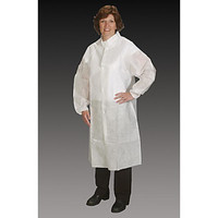 Lab Coat, Tapered Collar, Elastic Wrist, Snap Close, 3 Pockets, White By Cleanroom World