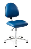 Lab Chairs, Integra Upholstered, Control Options, Polished Aluminum Base, Mushroom Glides By Cleanroom World