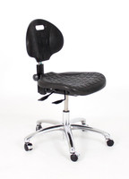 ESD Chair, Everlast Black Polyurethane, Control Options, Polished Aluminum Base, ESD Mushroom Glides By Cleanroom World