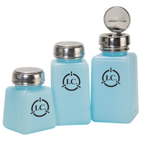 ESD Solvent Dispensers, Anti-Splash Pump, Multiple Sizes, Blue By Cleanroom World