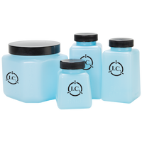 ESD Square Storage Bottles; Multiple Sizes, Lid, Blue By Cleanroom World