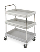 """Polymer Utility Cart, 3 Shelves, 24""""x36"""" By Cleanroom World"""