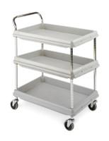 "Polymer Utility Carts; 2.75"" Deep Ledge, 3 Shelves, 21-1/2""x 32-3/4""x 41""H By Cleanroom World"