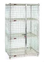 Security Racks; 2 Shelves, Stationary, Chrome By Cleanroom World