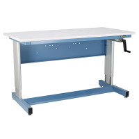 ESD Hand Crank Height Adjustable Workstations, Sky Blue By Cleanroom World