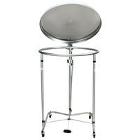 """Stainless Steel Round Hamper, 25"""" Diameter, Casters By Cleanroom World"""