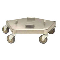 Conductive Metal ESD Trash Can Dolly, Industrial Aluminum Construction By Cleanroom World