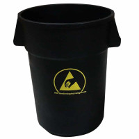 ESD Trash Can, 44 Gallon, Carbon Loaded, Black Conductive Polypropylene By Cleanroom World