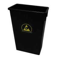 ESD Trash Can, 22 Gallon, Carbon Loaded, Black Conductive Polypropylene By Cleanroom World