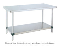 Stainless Steel Table, Stainless Steel 14/304, Chrome Posts, Galvanized Shelf By Cleanroom World