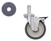"5"" Polyurethane, Swivel/Brake Stem, Cart Washable, For Super Erecta Industrial Wire Shelving Racks By Cleanroom World"